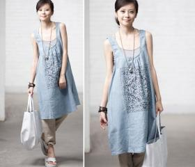 Linen printed vest dress