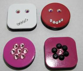 Set of 4 Swarovski Crystal Magnets - Happy Face, Skeptical Face & Flowers