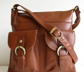 Brown Leather Pocket Messenger Bag