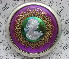 Compact Mirror Psychedelic Lady