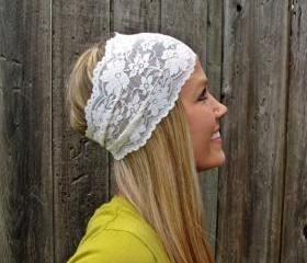 Wide Stretch Lace Headband in Ivory Cream (off white)