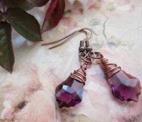 Swarovski Crystal Earrings, Wire Wrapped Jewellery, Drop Earrings, Steampunk, Briolettes, Baroque Earrings, Copper, Purple, Amethyst