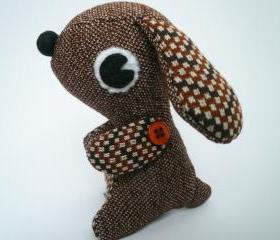 Stuffed animal puppy dog - Brown Vintage style plush