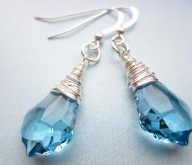 Swarovski Crystal Earrings, Wire Wrapped Earrings, Blue Crystal, Aquamarine, Briolette, Baroque, Drop, Wedding, Bridal, Something Blue
