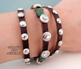 Leather rivet multi strand punk wrap bracelet