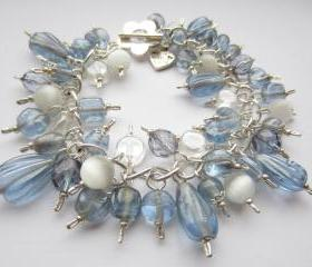 Pale Blue Bracelet, Blue and Silver Bracelet, Cluster Bracelet, Cats Eye Bead, Denim Blue, Powder Blue, Charm Bracelet, Something Blue