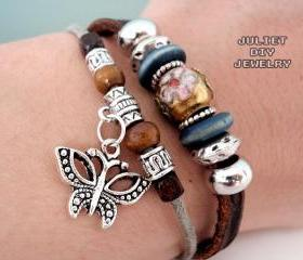 Silver butterfly charm leather bracelet with beautiful cloisonné center bead