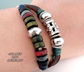 Two strand beaded leather bracelet