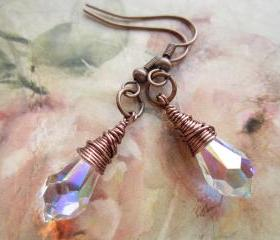 Swarovski Crystal Earrings, Copper Wire Wrapped Earings, Crystal Drop Earrings, Bridal Jewellery, Wedding, Steampunk