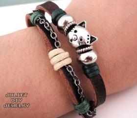 Cat charm bracelet silver kitty cat leather bracelet