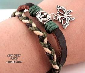 Silver butterfly charm leather bracelet 