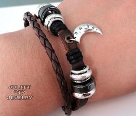 Silver moon charm leather bracelet