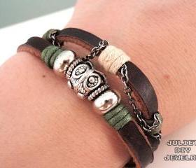 Owl charm bracelet silver owl bead leather bracelet