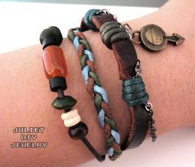 Men's bracelet, leather hemp woven bracelet