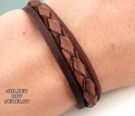 Simple leather woven zen unisex bracelet