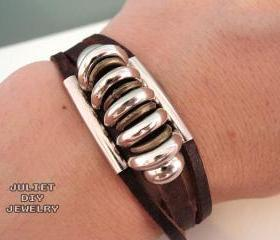 Leather Zen Bracelet with Sparkling Silver Beads, Fully Adjustable 5.5 to 9 Inches, Fits Men, Women, Teens