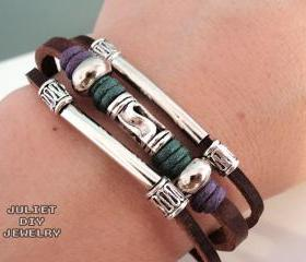 Unisex swirl bead leather zen bracelet with shiny silver tubes