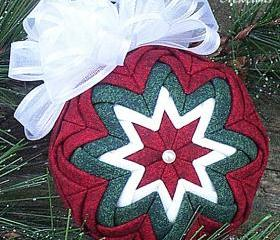 2.5&quot; Quilted Ornament - Dark Red, Dark Green, and White Fabric w/White Bow