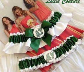Roughriders Green and white Garters