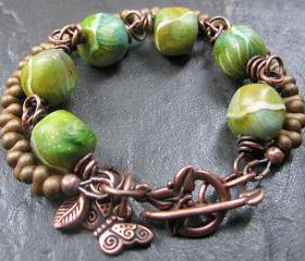 Handmade Copper Bracelet Beaded Mossy Rocks Clay Beads Butterfly & Leaf Charms