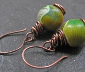Handmade Copper Earrings Green Mossy Rocks Clay Beads