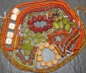 Orange & Olive Picasso Czech Glass Beads And Toho Seed Collection