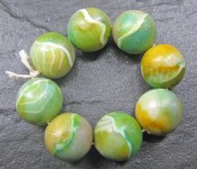 Set of 8 Clay Round Beads Green Yellow Aqua White
