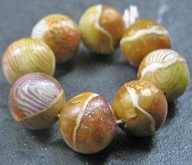 Set of 8 Handmade Clay Round Beads Chestnut Gold Olive Faux Gemstone Glass