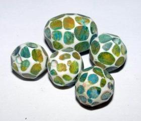 Set of 5 Polymer Clay Distressed Facteded Beads Green Yellow Blue