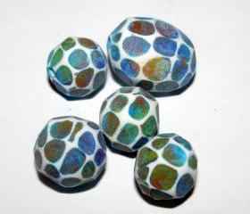 Set of 5 Polymer Clay Distressed Facteded Beads Monet Waterlillies Red Orange Yellow Green Blue