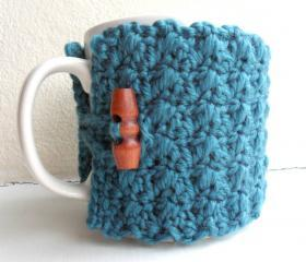 Crochet Mug Cozy Cup Cozy Teal Blue Yarn wooden toggle