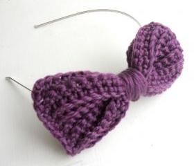 Crochet Bow Headband Purple Yarn Hairband