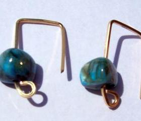 Turquoise Modern Style Earrings 14 k Gold-filled - 1 inch long - Free shipping