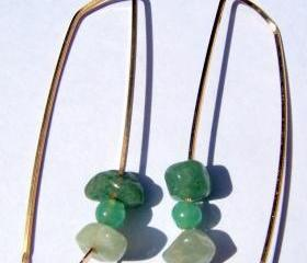 Jade Modern Style Earrings 14 k Gold-filled - 2 inches long