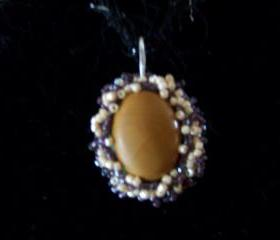 1/2 Price Sale - Moukaite Jasper Pendant with seed beads