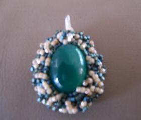 Dark Green Aventurine Pendant with sterling silver bail