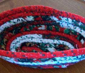 Basket - Oblong - Christmas Decoration - 7.25 inch - Christmas fabric