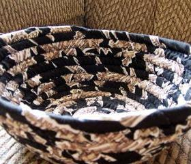 Coiled Fabric Basket in browns, black, tan - 7.5 inches across