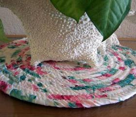 Hot Pad, Trivet, Plant, Candle Mat Coiled in - 12 inches Green, Animal print, brown, Blue