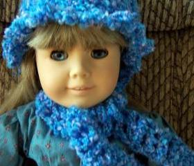 American Girl Crochet Hat with Ruffle Trim and Scarf - Blue