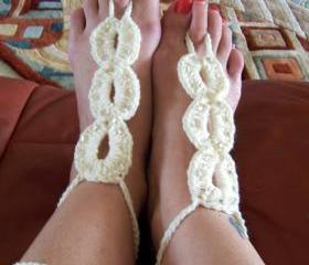 Barefoot Sandals Beaded Color Naturally Crochet, Beach wear, Nude shoes, Foot jewelry, Wedding, Victorian, Lace, Sexy, Yoga, Pool