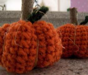 3 Little Crochet Pumpkins with Wood Stems
