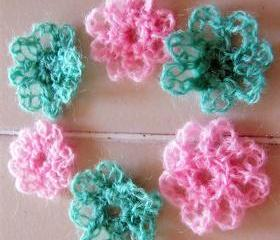 Flower Applique Crochet - 6 pieces