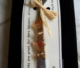 Funky Florida Finger Fork - with Butterfly beads