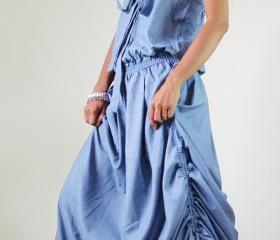 Denim Dress Long Light Blue Cotton Stonewashed Summer Maxi Sun dress : New Morning Sunshine Collection