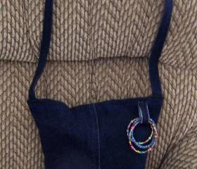 Blue Recycled Jean Purse with Beaded Details