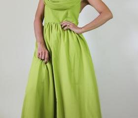 Green Maxi Dress - Beautiful Lovely Bridesmaid Cotton Long Gown Dress : Prisana - Sweet Sounds of Joy Collection