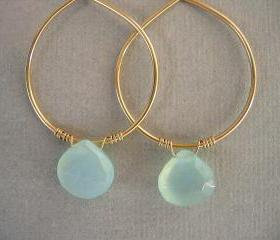 Aqua Chalcedony on Gold Filled Hoops Earrings