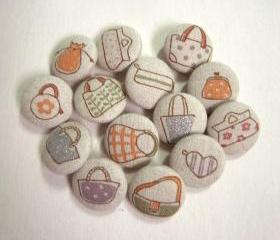 BAGS SET 14 assorted light beige Fabric covered Handmade buttons 22mm Japan linen
