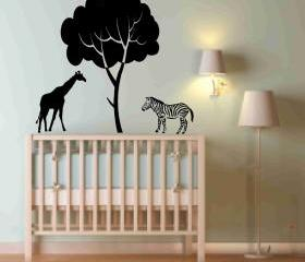 Zebra and Giraffe Decal for Baby Nursery
